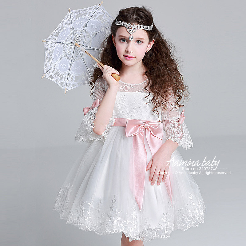 Princess White Girls Lace Dress Summer 2017 Wholesale Children Clothing Lots Kids Children Wedding Dress,girl Party Dress 5p69 maternity clothing spring twinset lace fairy princess wedding one piece dress white embroidery dress full dress summer