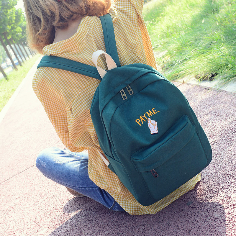 Ulzzang Embroidery Canvas Harajuku Backpack Korean Style Fashion Popular Preppy Style Primary School Student School Bag Backpack primary school students school bag 3 6 candy color preppy style backpack