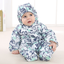 baby warm down cotton-padded winter jacket romper for boy girl down coat kids hooded parka baby snowsuit