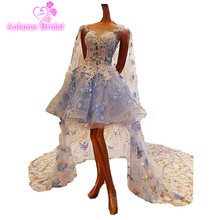 Vestido De Novia 2017 Short Light BLue/Ivory Beach Wed Dress Tulle Applique Beading Lace Boho Wedding Dresses Bridal Gowns