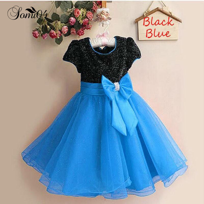 Girl Elegant Dress 2018 New Party Princess Sequins Short Sleeve Dress Children Clothing Summer Kids Little Girls Costume Clothes цена и фото