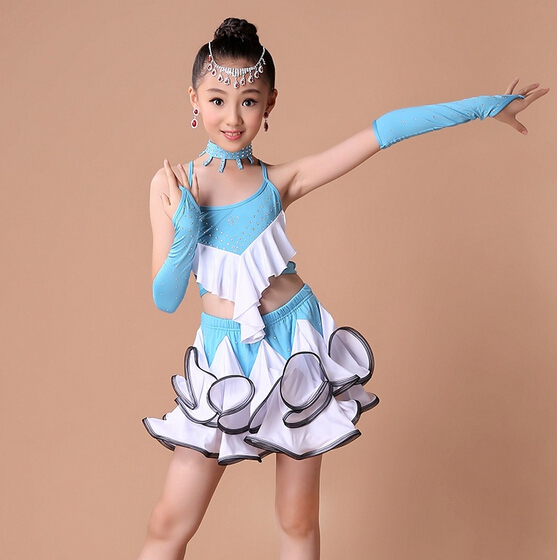 3 color Stage skyblue black fashion rumba latin dance dress tango samba competition110-160cm professional girl child costume