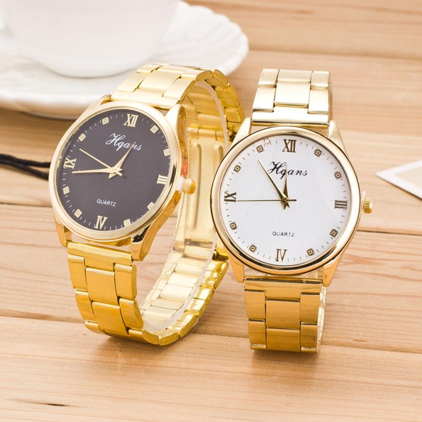 Roman Numerals Fashion Gold Quartz Watch Women Famous Wrist Watch Luxury Full Stainless Steel Ladies Dress Quartz Watches #D timele 391 quartz roman numerals indicate round dial watch with stainless steel watchband for women