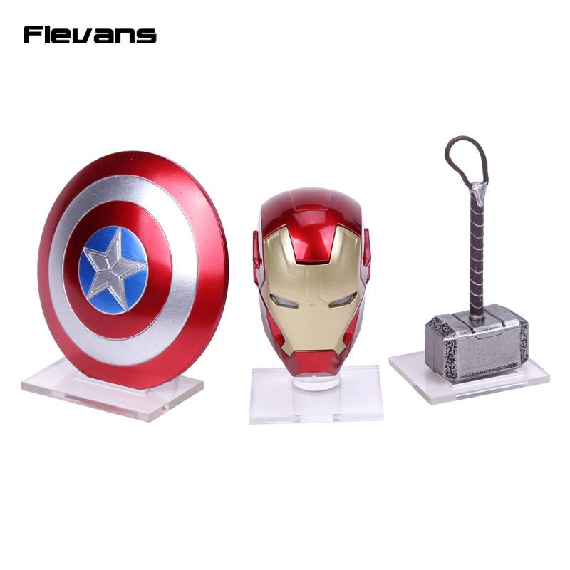 Avengers Super hero Mini Weapons Captain America Shield + Iron Man Helmet + Thor Hammer Figures Model Toys with LED Light Set escudo do capitão america brinquedo