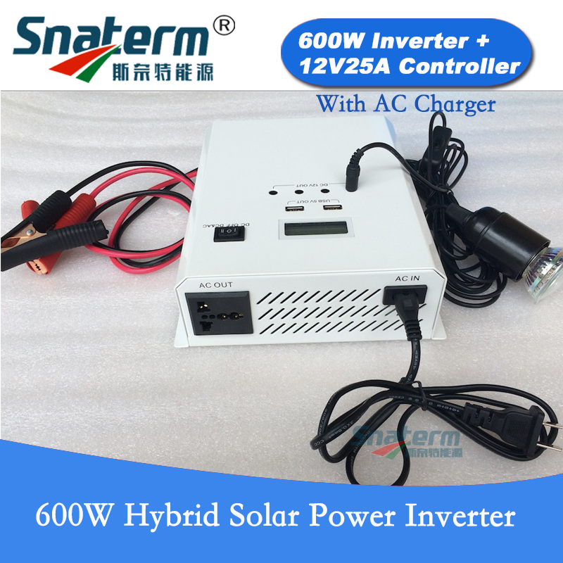 600W Solar Power Inverter DC12V build in 12V25A PWM Solar charge Controller Pure Sine Wave Hybrid