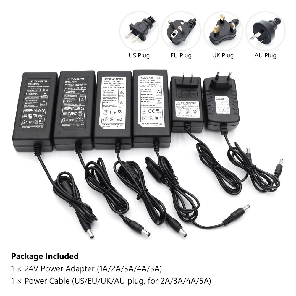 все цены на 1PC 24V 2A 3A 4A 5A AC 100V-240V Converter Adapter DC 24V Power Supply US/UK/EU/AU Plug 5.5mm x 2.1 for LED Strip CCTV Camera онлайн