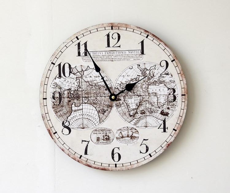 Dia35cm Mode Vintage Runden Holz Wanduhr Karte Wanddekor Antike Handmake Wandbehang Uhr Wohnzimmer