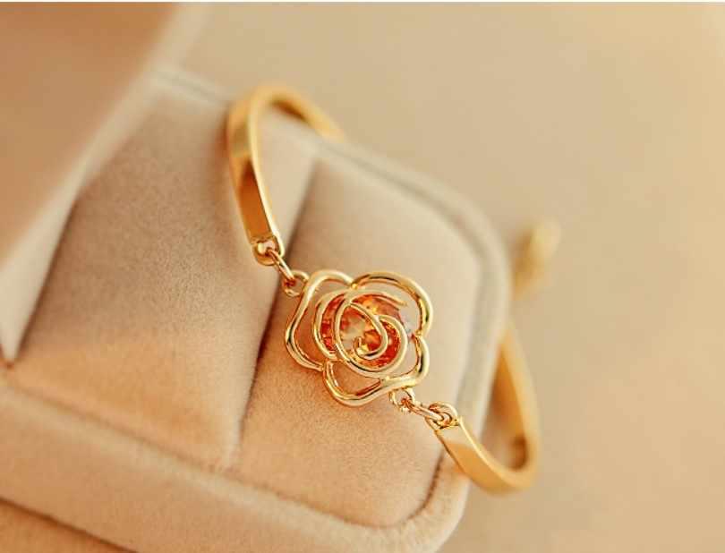 2019 de moda de la Flor de Oro pulsera de corazón pulsera de alta calidad pulsera abierta amarillo flor pulsera de la joyería para mujer regalo de cumpleaños