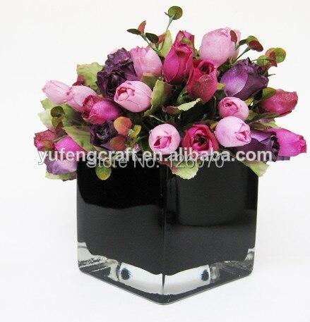 3 Sizes Black Square Glass Vases Glass Flower Stand Vase Jar Glass