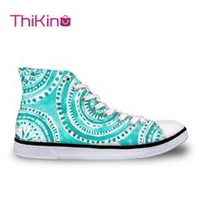 Thikin High Top Canvas Shoes for Teenager Women Vulcanize Shoes Women Casual  Canvas Sneakers Lace-up Flats Casual Espadrilles instntarts universe star women casual flats shoes cool animal purple wolf print woman s high top vulcanize canvas shoes sneakers