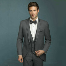 Latest Designs Wedding Suits for Men Grey Groom Tuxedo Peaked Lapel 3Piece Costume Homme Slim Terno Masculino (Jacket+Pant+Vest)