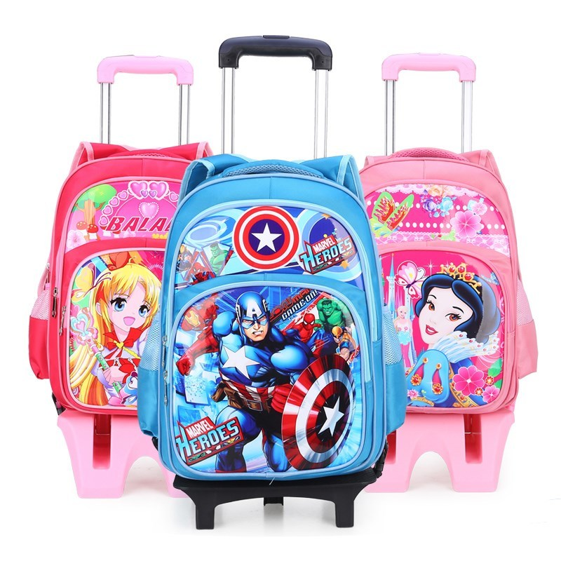 Hot Climb The Stairs Luggage Cartoon Princess School Bag Students Suitcase Children Travel Backpack Captain America Pencil Case