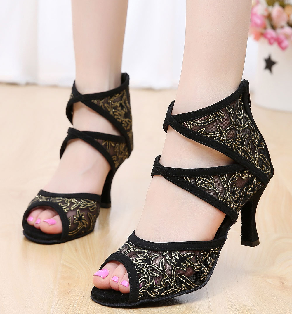 DILEECHI Brand Women s Black Mesh Latin dance shoes adult high heels Ballroom  dancing boots Customized other heels-in Dance shoes from Sports ... ee8116e481ce