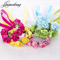 Women Girls Floral Bridesmaid Headband Holiday Hair Band Paper Flowers Bracelets hair accessories