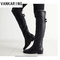brand genuine leather +PU women shoes winter knee high boots casual out door shoes black warm fur snow boots woman platform shoe