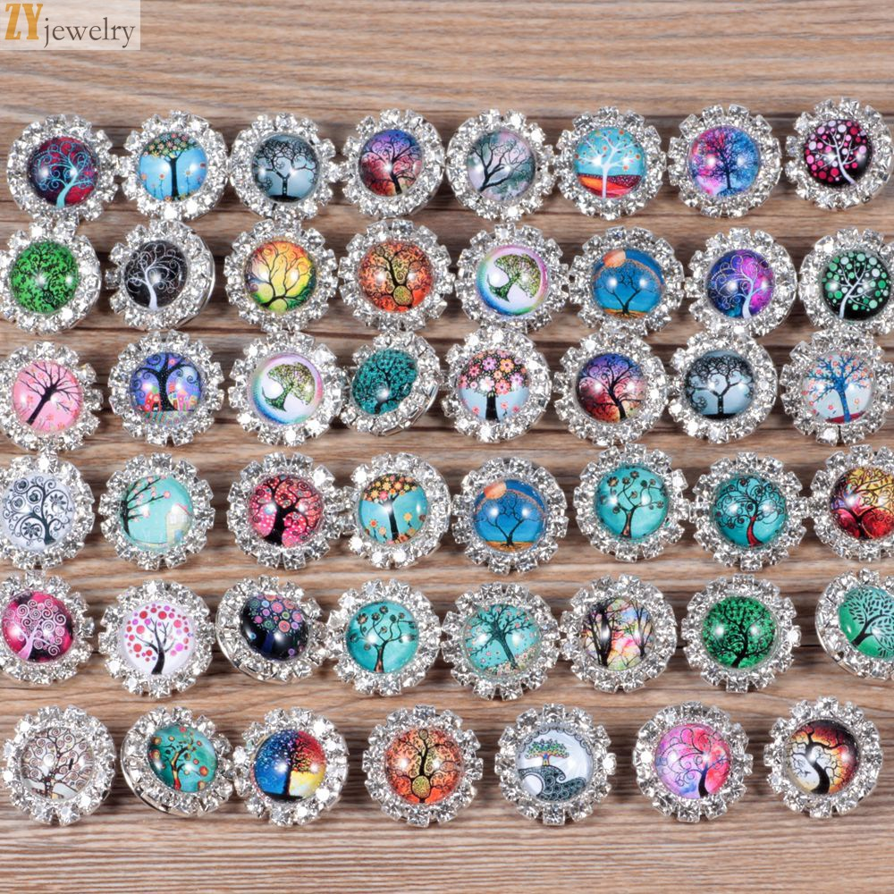 50pcs/lot All kinds of trees jewel pattern glass Ginger Snap Buttons Bangles Fit 18mm Snap Buttons Charms DIY Jewelry AP2283