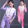 girls clothing sets 2016 NEW children cloth sets girls jacket+pants 2 pcs set clothes kids outwear clothing for 4-15 years