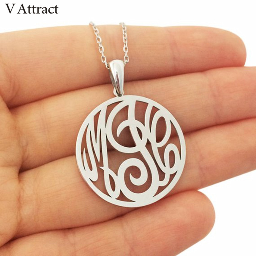 Customized Kolye 3 Initial Monogram Necklace Personalized Jewelry Circle Letter Charm Choker Custom Nameplate Necklace For Women
