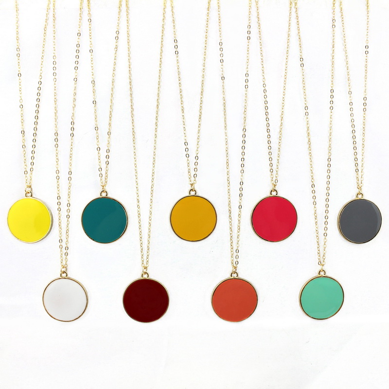 9 Warna Round Yellow Enamel Disc Monogram Loket Kalung Gold Spring Fesyen Wanita Long Necklace Jewelry Wholesale