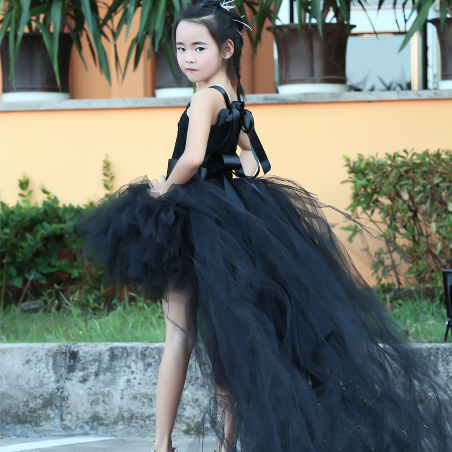 Train Tail S Black Tutu Dress Baby Bridesmaid Flower Wedding Tulle Ball Gown Kids Evening Party Dresses In From Mother