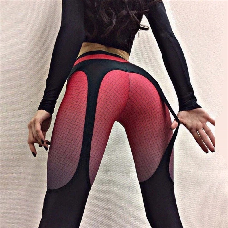 2018 Patchwork Leggings Women Sportswear Plaid Gradient Color Elastic Pants Bodybuilding Fitness Leggins