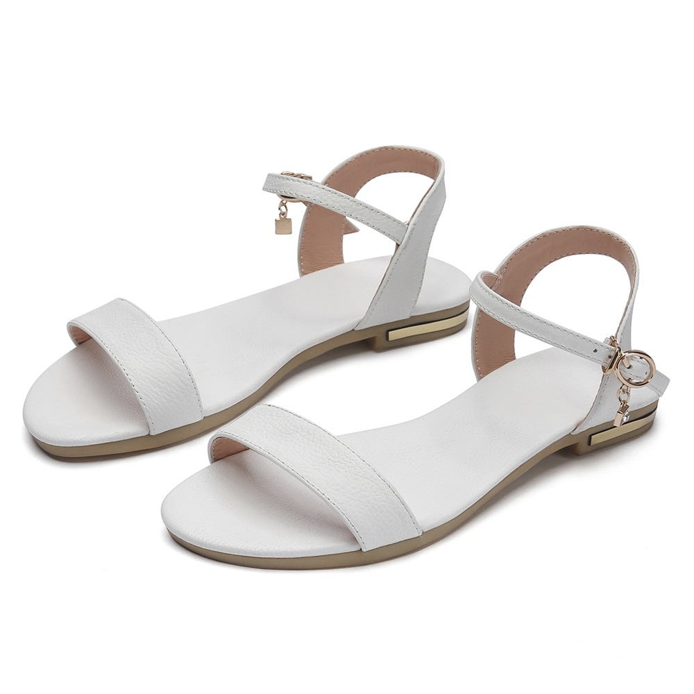 HTB1BZWso7KWBuNjy1zjq6AOypXaa MORAZORA Plus size 34-46 New genuine leather sandals women shoes fashion flat sandals cow leather summer rhinestone ladies shoes