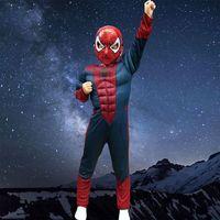 الرجل العنكبوت هالوين تأثيري زي للأطفال حللا قناع الأطفال الأولاد الملابس فيلم خارقة المنتقمون سبايدرمان العضلات