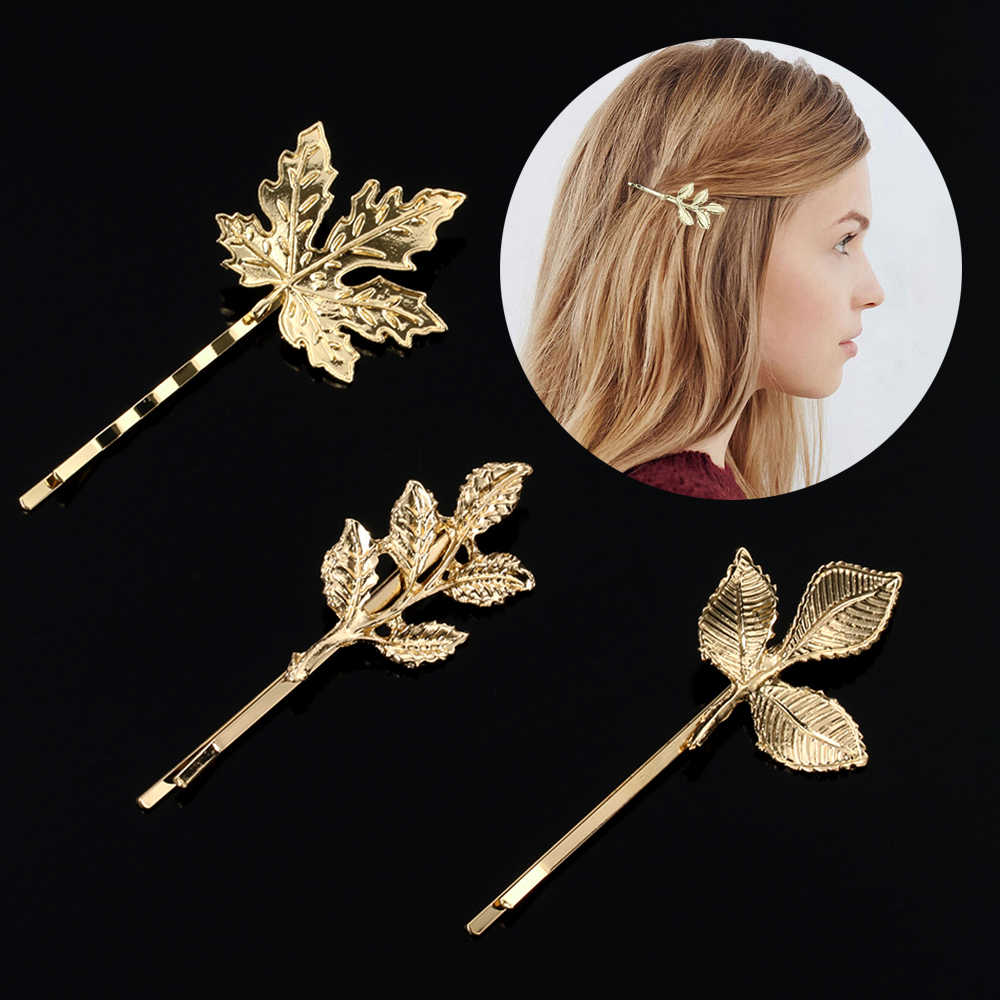 1PC Beautiful And Elegant Girls barrettes Hair Accessories Fashion New Woman Bride Metal Leaf Hair Clips Pearl Hairpin Two Type