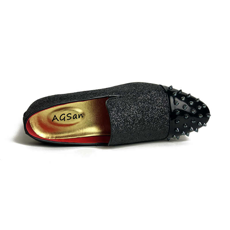 quality design 22377 98ecd AGSan Handmade Rivet Spiked Men Shoes Red Bottom Male Loafers Glitter  Gentleman Luxury Brand Men Wedding and Party Slip on Flats