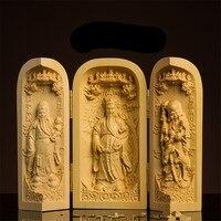 Dropship Chinese Handmade Carving Exquisite Avalokitesvara Boxwood Handle Car Decoration Home Furnishing Buddha Wooden Crafts