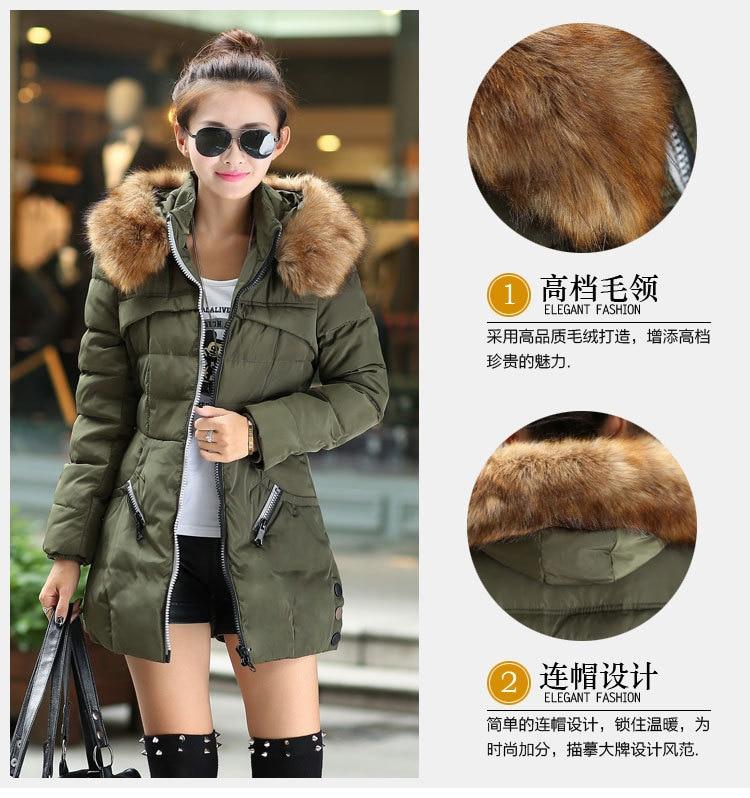 BK Female Hooded Long Parka Overcoat 2014 Fashion Double Color Zipper   Down     Coat   Elegant Big Fur Collar Womens Winter Jackets