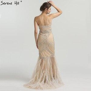 Image 2 - זהב סטרפלס סקסי בת ים נוצות שמלת ערב יהלומים ואגלי טול אופנה שמלות ערב 2020 Serene היל LA6588