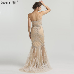 Image 2 - Altın straplez seksi Mermaid tüyleri abiye elmas boncuk tül moda abiye 2020 Serene tepe LA6588