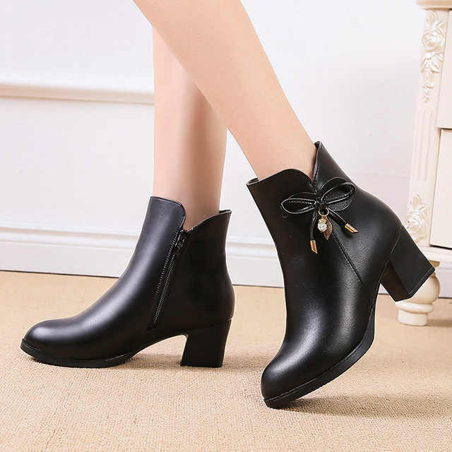 Women Boots Black Leather Ankle Boots For Women Bow High Heel Boots Autumn Female Shoes Size 35-42 Botas Mujer Red wine