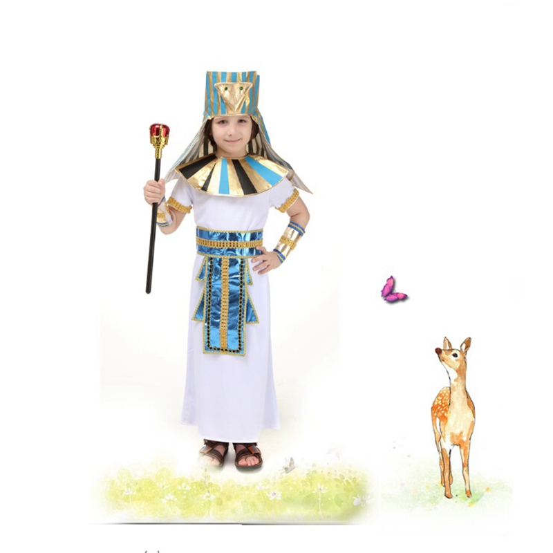 Children's Halloween Princes CLothing Pharaoh of Ancient Egypt Role Playing Kids Halloween Cosplay Carnival Performance Party