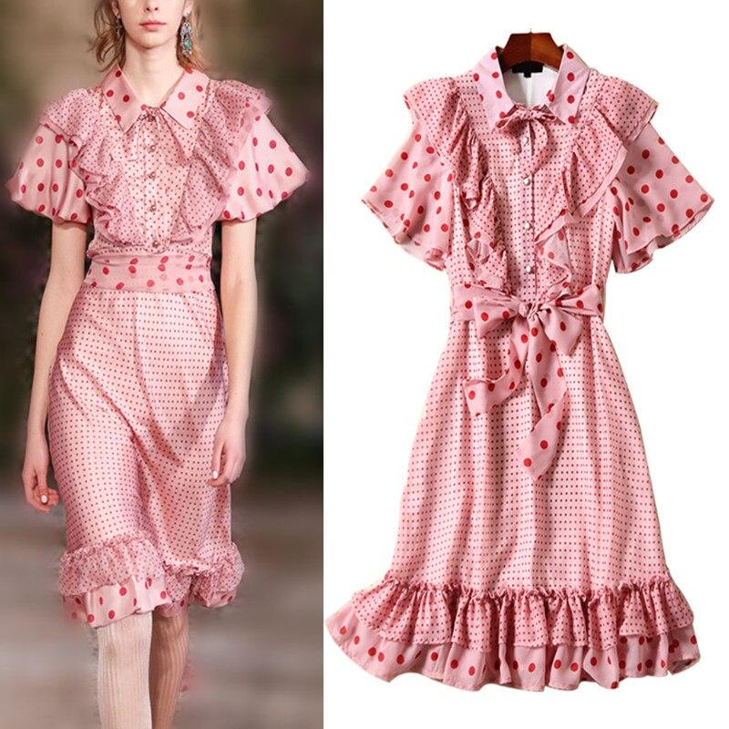 Haute qualité 2019 marque piste été printemps OL rose belles robes à volants manches femmes élégantes robes de soirée avec ceintures NS208