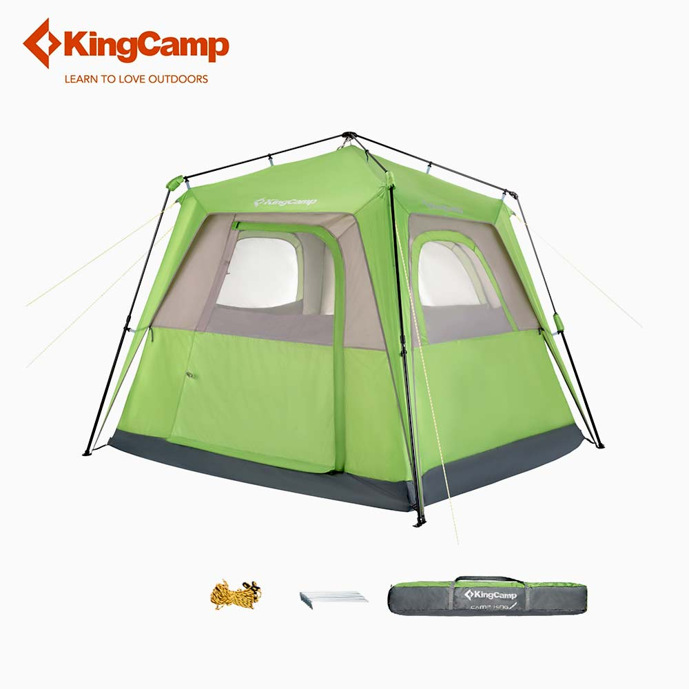 KingCamp Camping Tent Square Top UPF50+ Protection Roomy 2-Seasons, 4-Person Durable Outdoor Tent for Family Camping outdoor double layer 10 14 persons camping holiday arbor tent sun canopy canopy tent