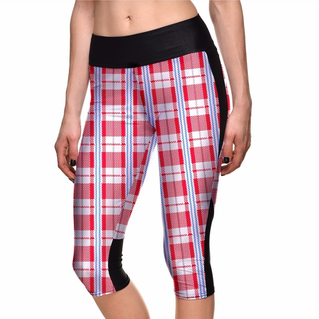 bdd7fac096a5f6 Plus Size Women's 7 Point Pants Women's Leggings Red Plaid Digital Print  Women High Waist Side Pocket Phone Pant