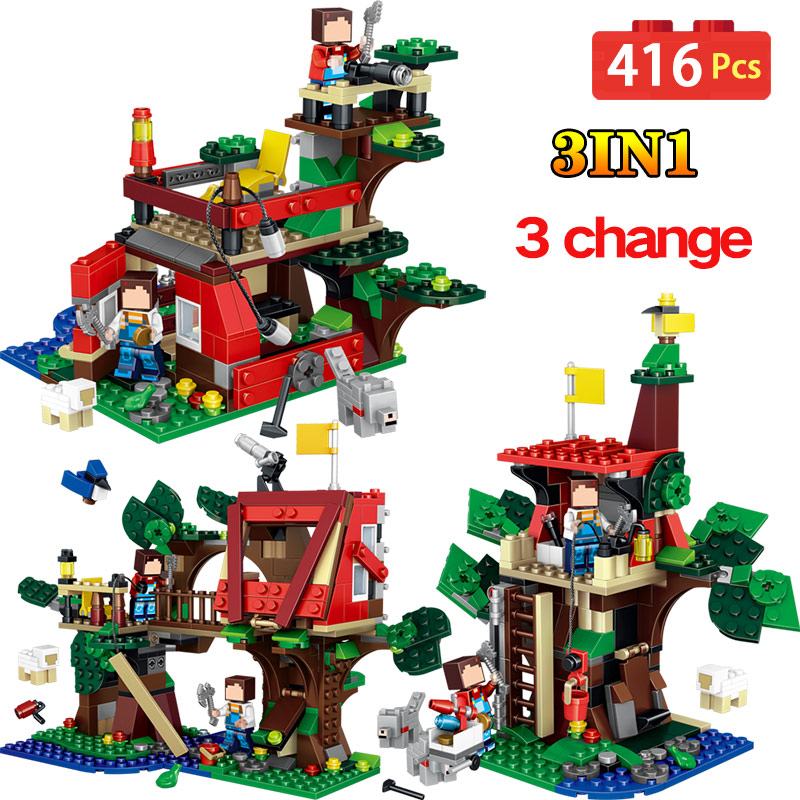 Jungle Tree House Model Building Blocks My World Compatible LegoINGlys Technic Adventure World Educational Children Toys my world tree house brick scene series steve mini blocks model building blocks kit toys for children compatible 21125