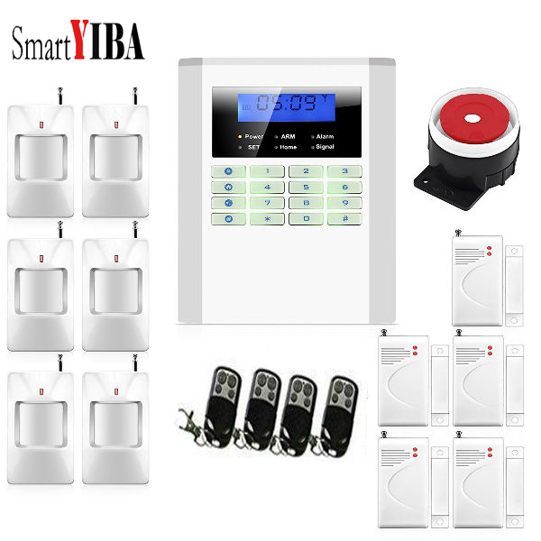 SmartYIBA Home Security Wireless Wired PSTN GSM Alarm System LCD Keyboard 433MHz Sensor Russian Spanish French Italian Voice free shipping 99 wireless zone and 2 wired quad band lcd home security pstn gsm alarm system 3 pet immune pirs 5 new door sensor