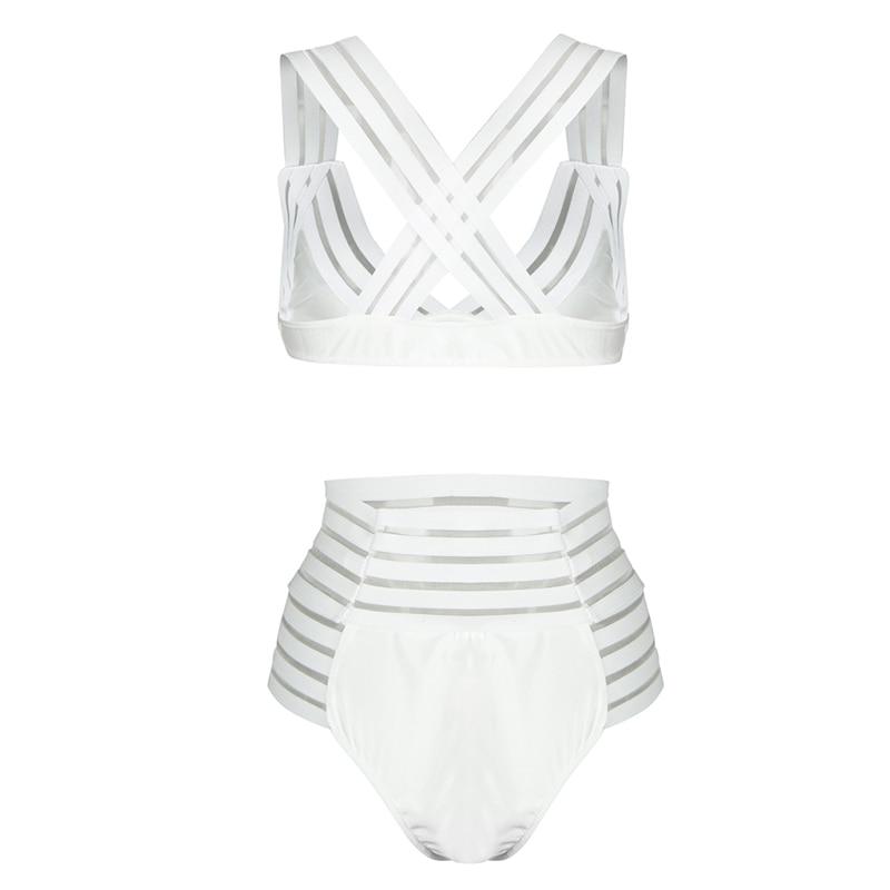 727bb7fe92e77 Sheer Mesh Stripes Summer Bikini Set women swimwear bikinis brazilian beachwear  Bandage Cross Over Back High Waist Bathing Suit-in Bikinis Set from Sports  ...