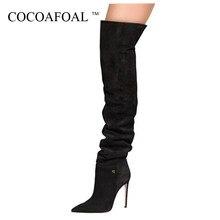 956746a5 COCOAFOAL Sexy sobre la rodilla botas invierno mujer muslo botas altas más  tamaño 33 43 negro gris moda zapatos de tacón alto 20.