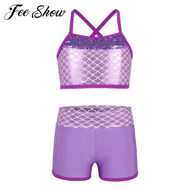 3c4618f7a4dda Children Girls Sequins Mermaid Scales Printed Top Bra and Shorts Set for  Gymnastics Leotard Dancing Exercise