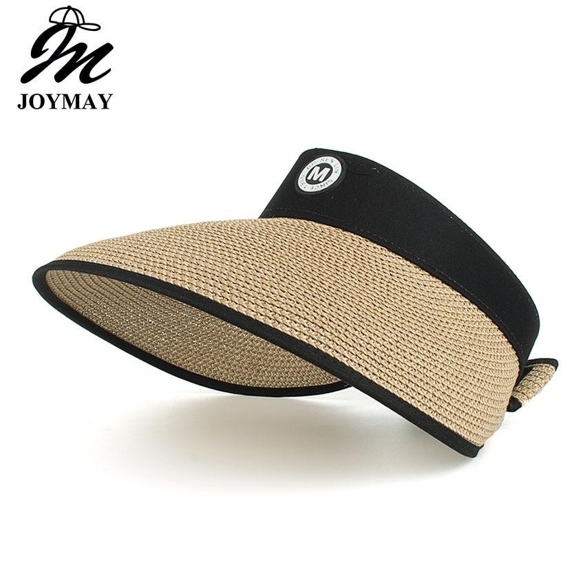 f6db02308186e Joymay Womens UV Sun Protective Roll-Up Summer Visor with backside bowknot