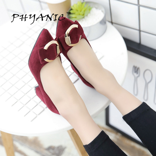 PHYANIC 2017 Fashion Pointed Toe Metal Bowtie Pumps Low Square Heels Shoes Spring Summer Shoes Women Pumps Women Shoes