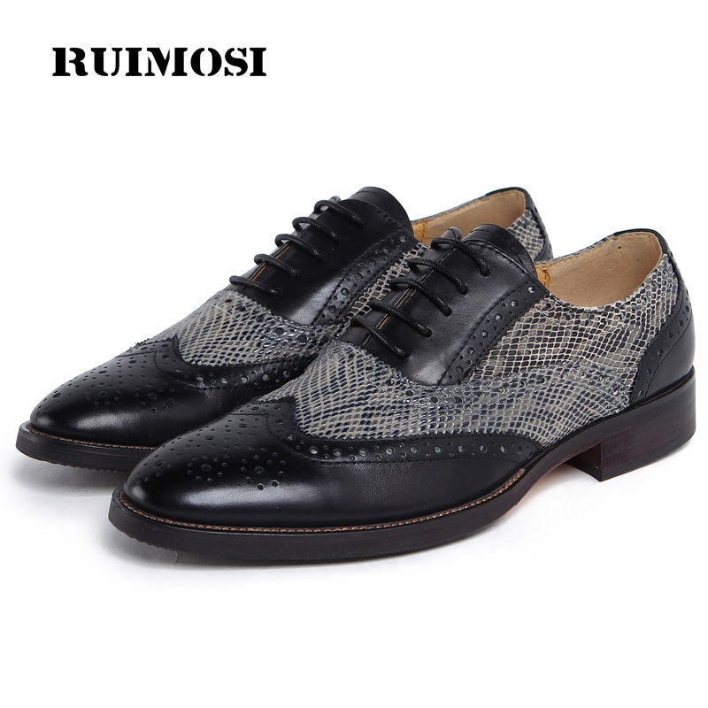 RUIMOSI New Man Wing Tip Snakeskin Brogue Dress Shoes Genuine Leather Male Oxfords Round Toe Formal Luxury Men's Flats YD36