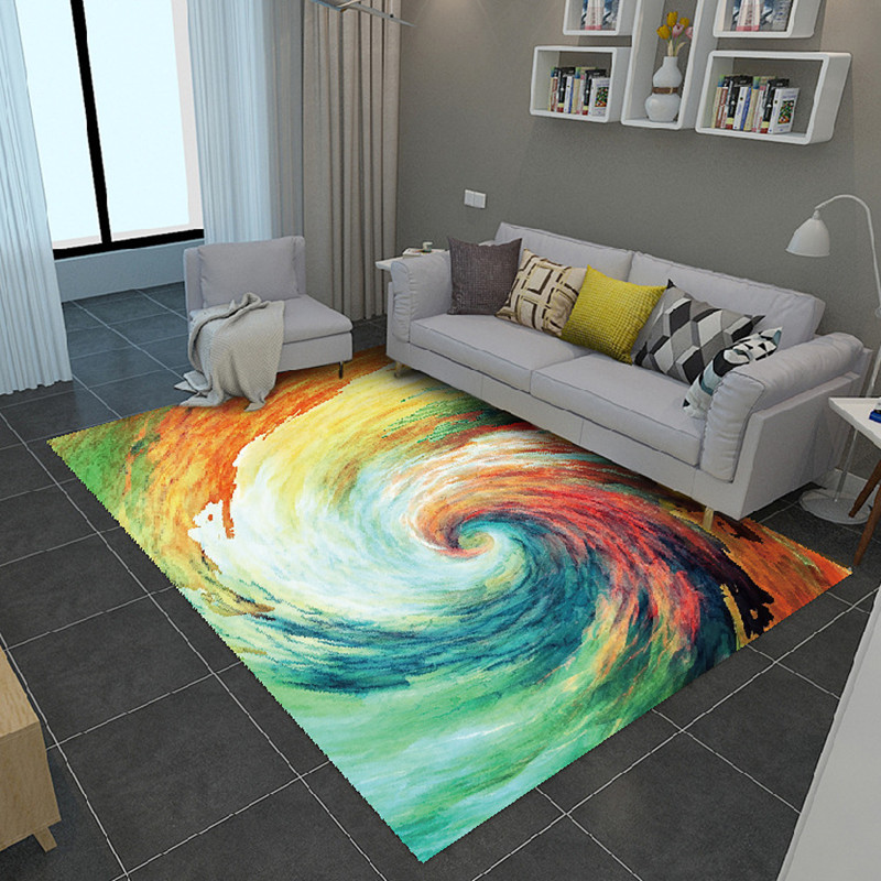 Modern Style Painted Carpets For Living Room Coffee Table Area Rectangle Carpet Simple Bedroom Home Decor Anti-slip Floor Mats