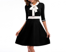 Spring and summer new style Colorblock bow collar dress Slim-fit knit Commuter sleeve