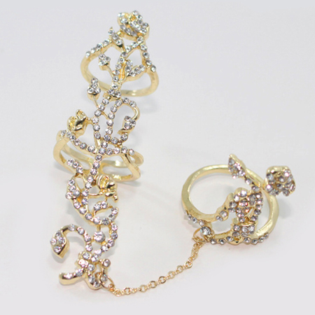 5e30e36102d9b SHEEGIOR Punk Rhinestone Hollow Flower Long Men Rings for Women Lovely Gold  Silver Link Chain 2 Finger Ring Fashion Jewelry Gift