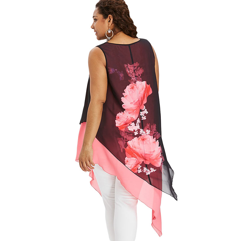 fbf12caf05 PlusMiss Plus Size Sleeveless Asymmetrical Chiffon Blouse Women Big Size  Beach Boho Floral Flower Print Long Tops Ladies 2018